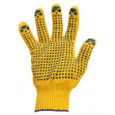 Перчатки с ПВХ 5 нитей (10) Точка жёлтые
